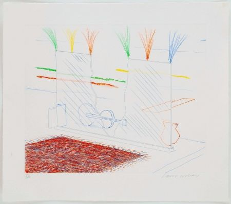 Etching Hockney - On It May Stay His Eye, from The Blue Guitar