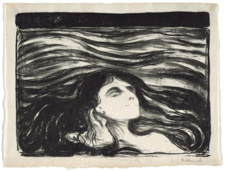 Lithograph Munch - On the waves of love