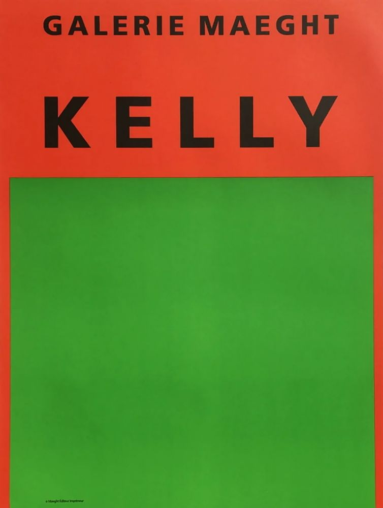 Lithograph Kelly - ORANGE ET VERT. Afiiche lithographie originale (1964).