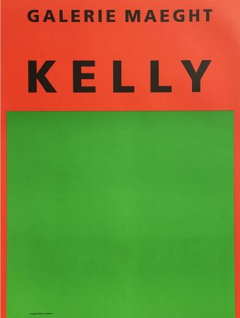 Lithograph Kelly - ORANGE ET VERT. Afiiche lithographie originale (1964).