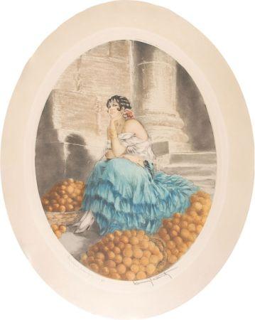 Engraving Icart - Orange seller - Marchande d'oranges