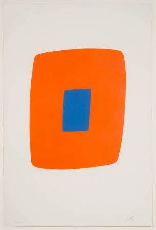 Lithograph Kelly - Orange With Blue