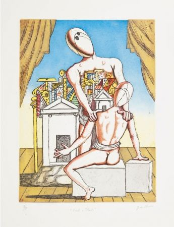 Etching And Aquatint De Chirico - Oreste e Pilade, 2nd version