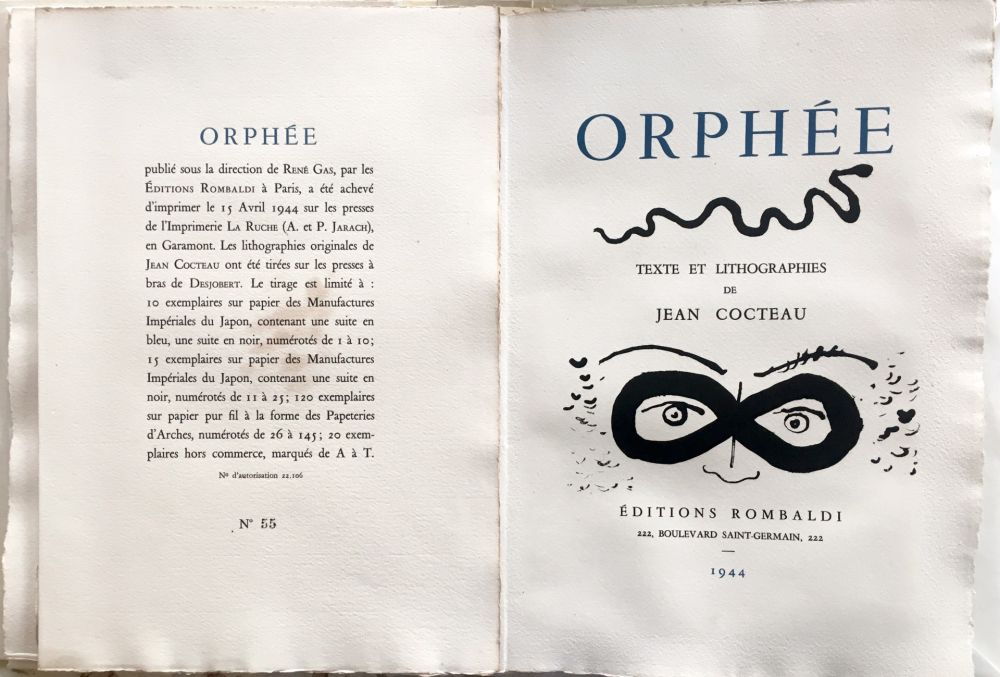 Illustrated Book Cocteau - ORPHÉE. avec 41 LITHOGRAPHIES ORIGINALES DE JEAN COCTEAU (1944)