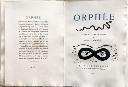 Illustrated Book Cocteau - ORPHÉE. avec 41 LITHOGRAPHIES ORIGINALES DE JEAN COCTEAU (1944)