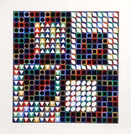 Screenprint Vasarely - Our MC