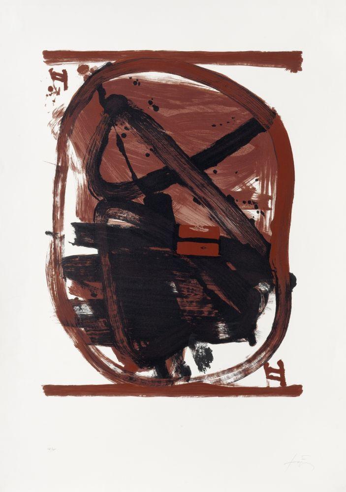 Lithograph Tàpies - Ovale rouge et noir