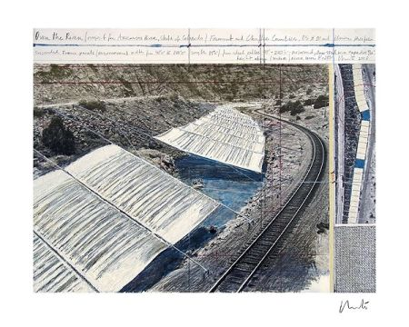 Lithograph Christo - Over The Arkansas River, Project A