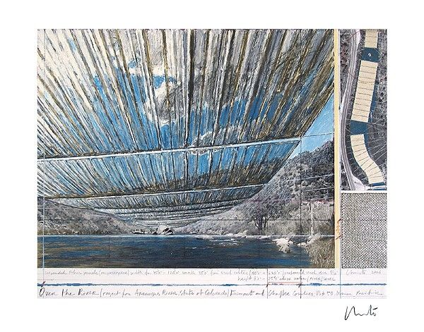 Lithograph Christo - Over The Arkansas River, Project U