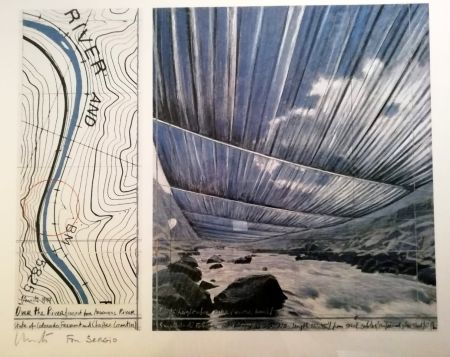 Poster Christo - Over the river (Project for Arkansas River) Signed