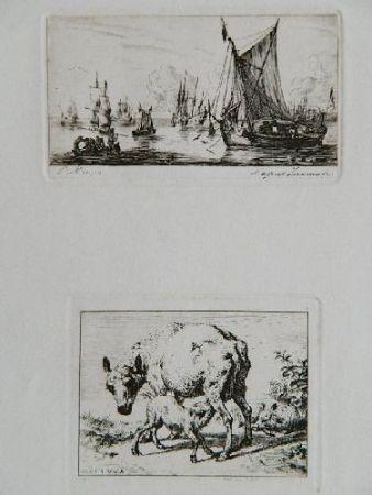 Etching Meryon - Pêcheurs de la mer du sud (after Zeeman) [with] La brebis et les deux agneaux (after Van de Velde)