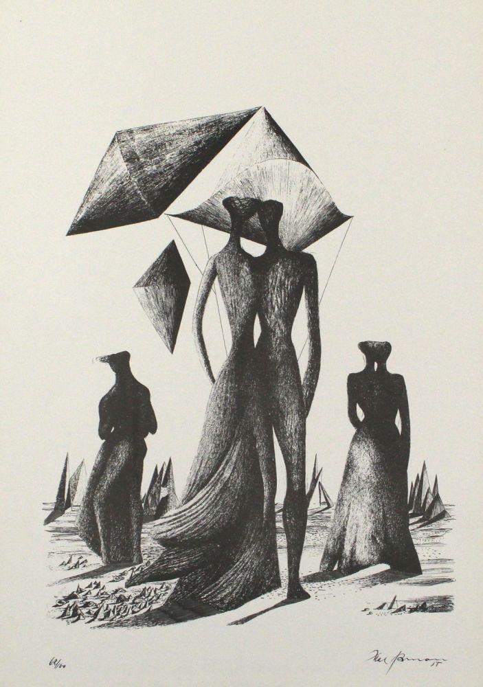 Lithograph Zimmermann - Paar mit Himmelskörpern