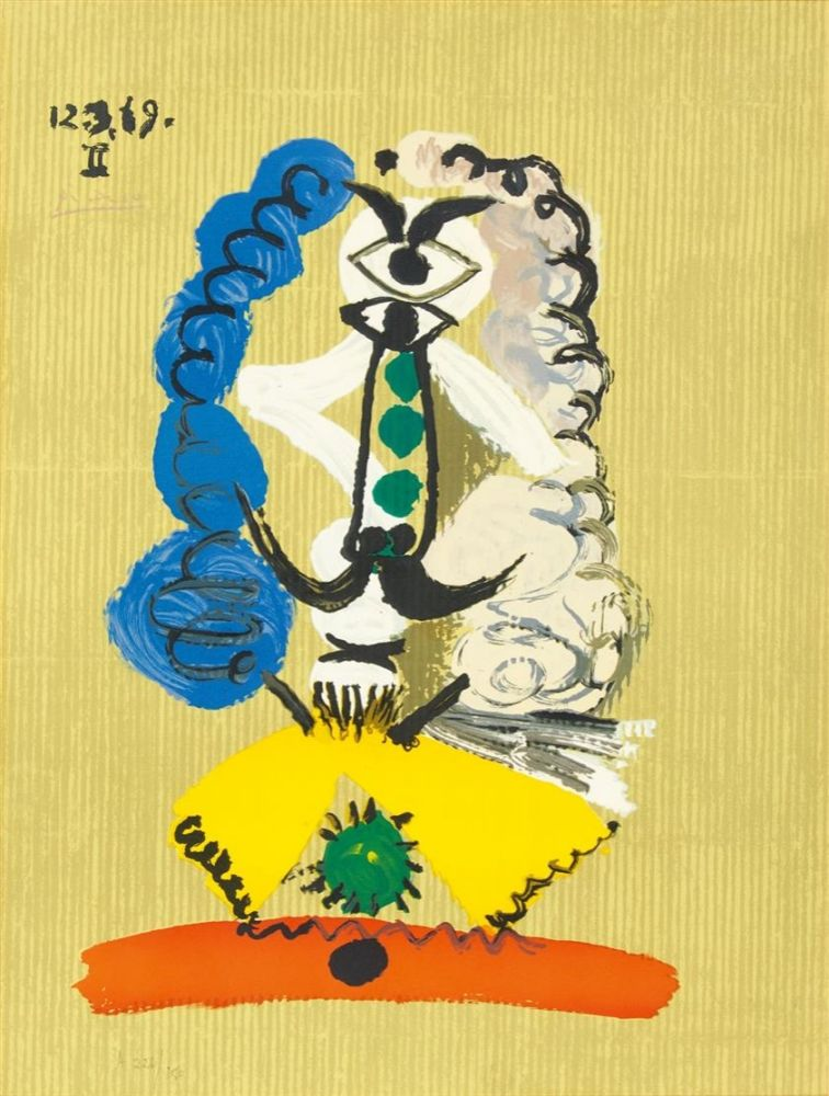 Lithograph Picasso - Pablo Picasso- Portrait Imaginaires 12.3.69 II