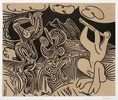 Linocut Picasso - Pablo Picasso Danseurs et musicien (Dancers and musician), 1959