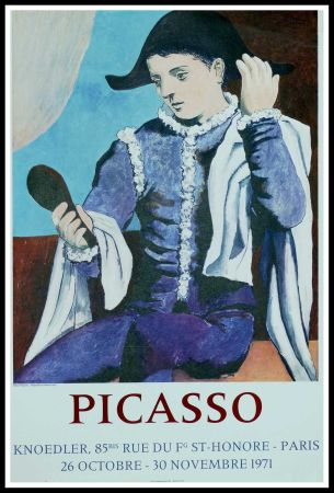 Poster Picasso - PABLO PICASSO GALERIE KNOEDLER L'ARLEQUIN AU MIROIR