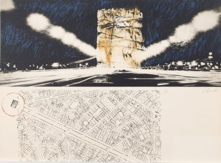 Lithograph Christo - PACKED BUILDING PROJECT FOR THE ARC DE TRIOMPHE PARIS