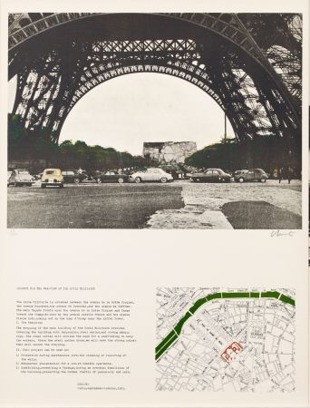 Lithograph Christo - PACKED BUILDING PROJECT FOR THE ECOLE MILITAIRE PARIS