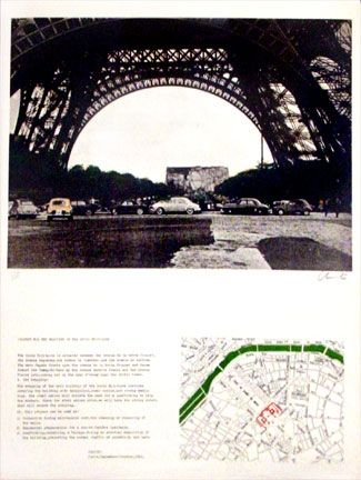 Lithograph Christo - Packed Public Building, Project for the Ecole Militaire, Paris (1970)