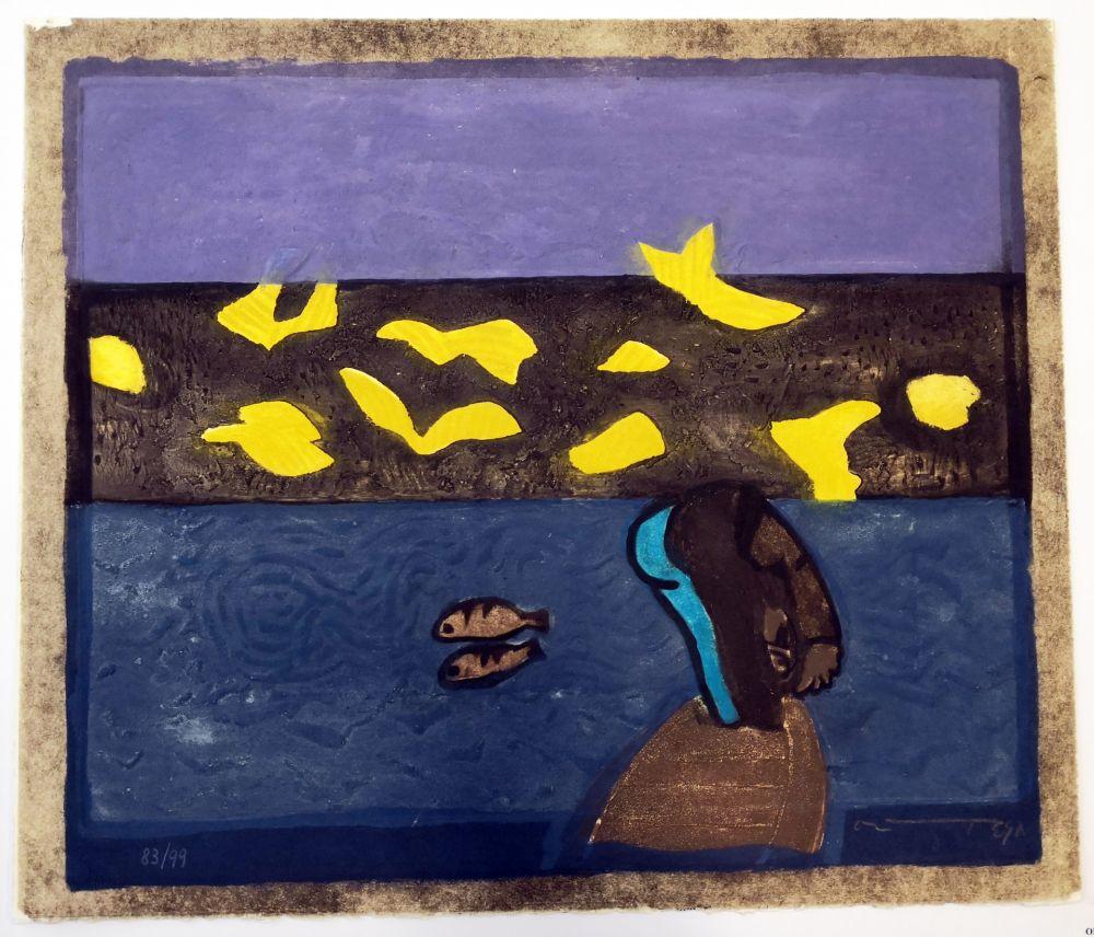 Linocut Ortega - Paesaggio