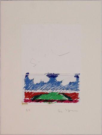 Lithograph Schifano - Paesaggio