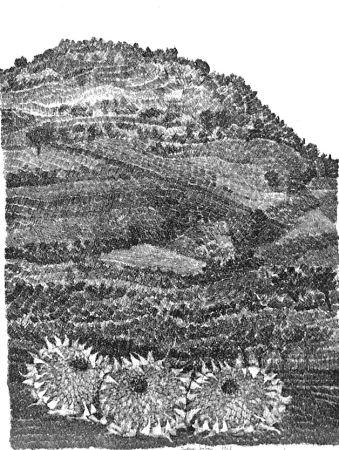 Engraving Gulino - Paesaggio con girasoli