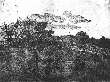 Engraving Fattori - Paese al tramonto (con guardiani di porci)