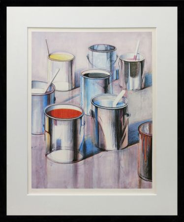 Lithograph Thiebaud - PAINT CANS