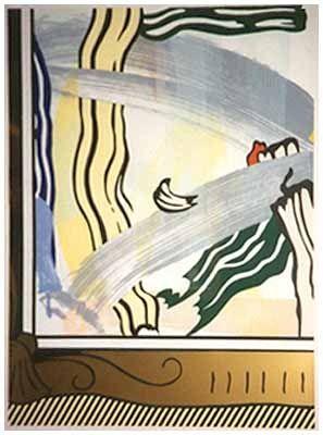 Woodcut Lichtenstein - Painting in Gold Frame
