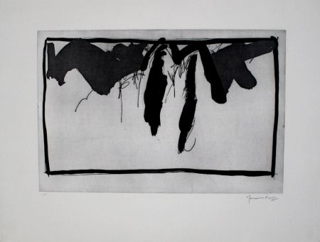 Etching And Aquatint Hernandez Pijuan - Paisatge amb xiprers II / Landscape with Cypresses II