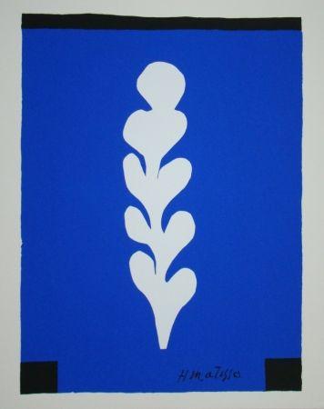 Screenprint Matisse - Palme sur fond bleu