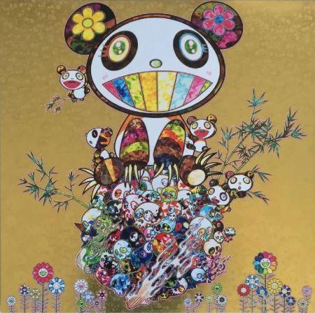 Lithograph Murakami - Panda Family Gold