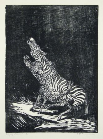 Woodcut Klemm - Panther und Zebra