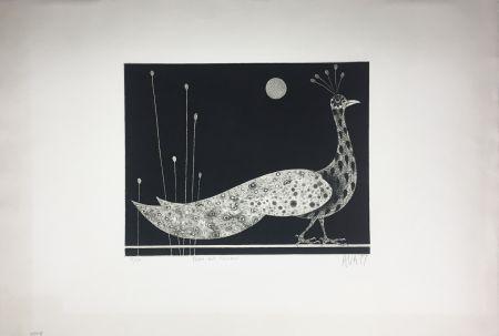 Mezzotint Avati - PAON AUX ROSEAUX (1958)