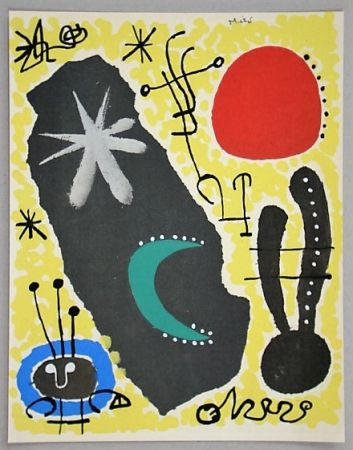 Pochoir Miró - Papier collé, 1955