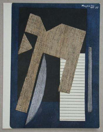 Pochoir Magnelli - Papier collé sur fond bleu, 1955
