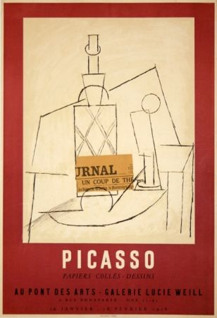 Poster Picasso - Papiers Collés Exposition Lucie Weill