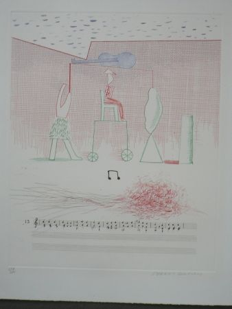 Engraving Hockney - Parade (from the blue guitar)