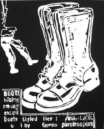 Screenprint Warhol - Paratrooper Boots Negative