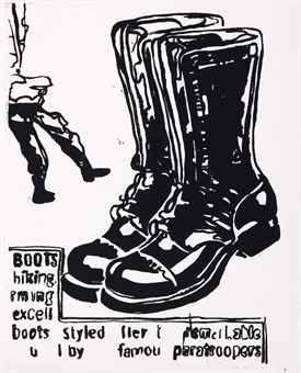 Screenprint Warhol - Paratrooper Boots Positive