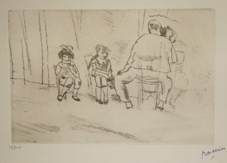 Etching Pascin - Parents et enfants