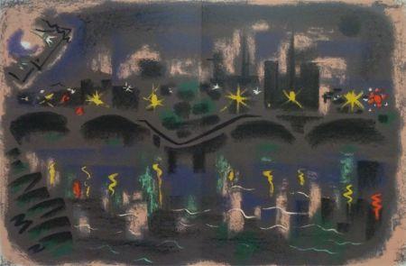 Lithograph Masson - Paris at night