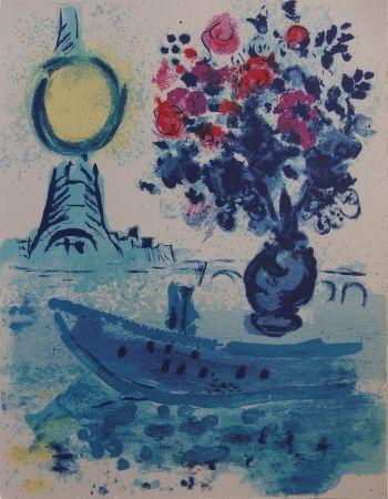 Lithograph Chagall - Paris : Bateau mouche au bouquet  - La Seine