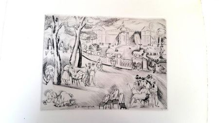 Lithograph Waroquier - Paris Jardin du Luxembourg