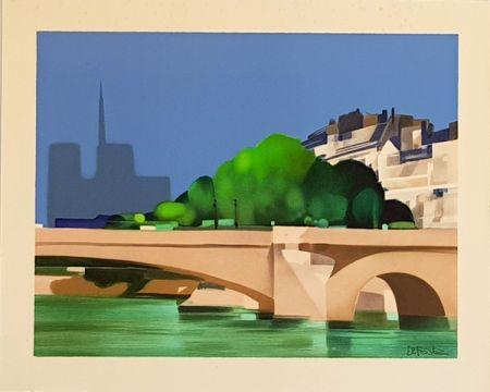 Lithograph Defossez - Paris  Pont de la Tournelle