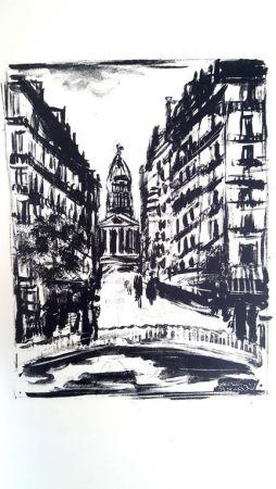 Lithograph Vlaminck - Paris Rue Souflot