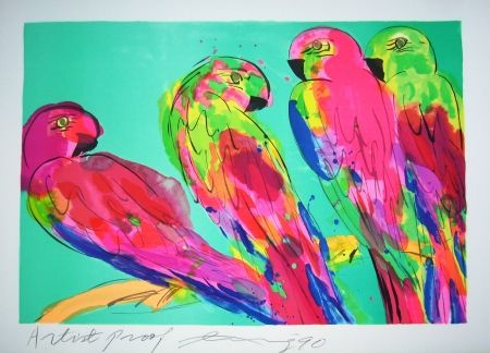 Lithograph Ting - Parrots