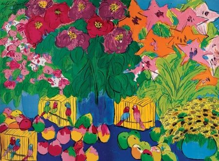 Lithograph Ting - Parrots and flowers