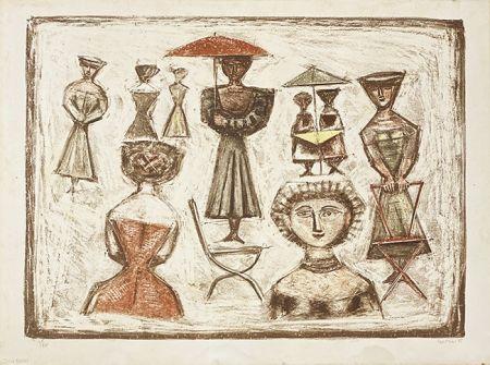 Lithograph Campigli - Passeggiata Romana