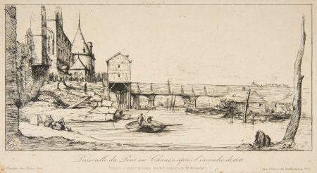 Etching Meryon - Passerelle du Pont-au-Change, Paris, après l'incendie de 1621