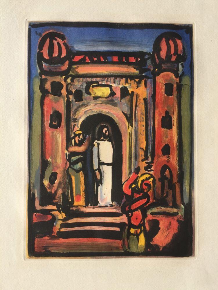 Etching And Aquatint Rouault - Passion Suite: Christ aux Portes de la Ville
